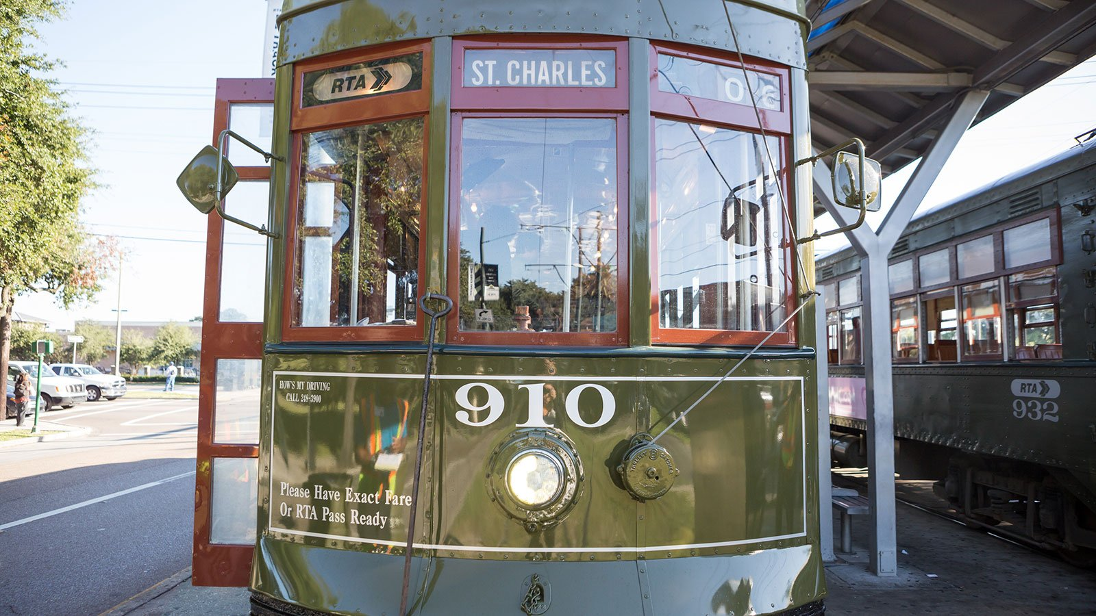 "A green and crimson ""Perley Thomas"" streetcar"