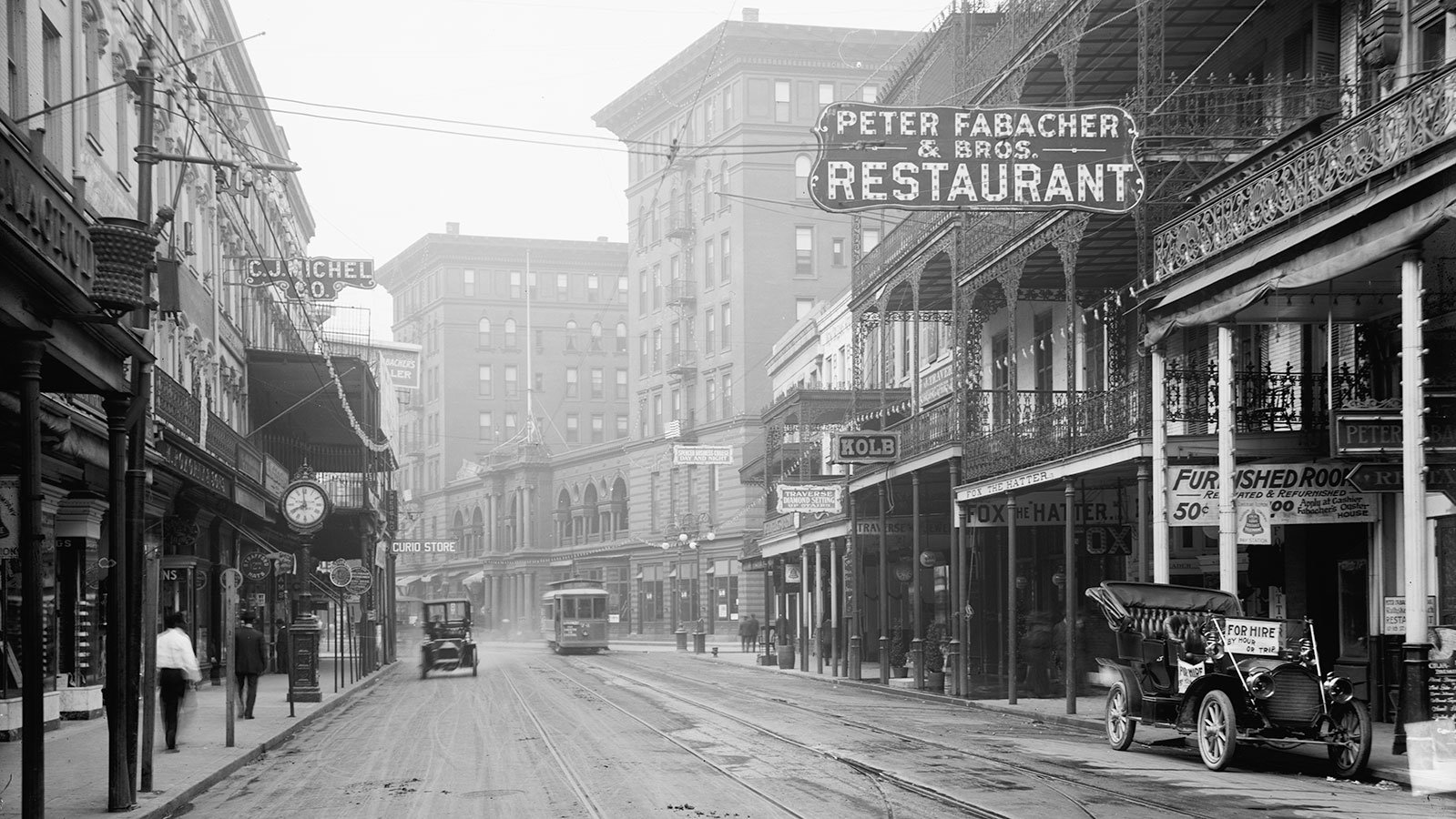 St. Charles Street in New Orleans, Louisiana, circa 1910