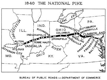 The National Road (National Pike) as of 1840