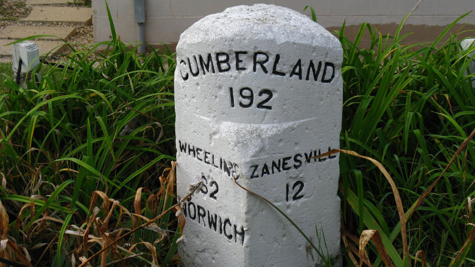 Several old mile markers still sit along the National Road