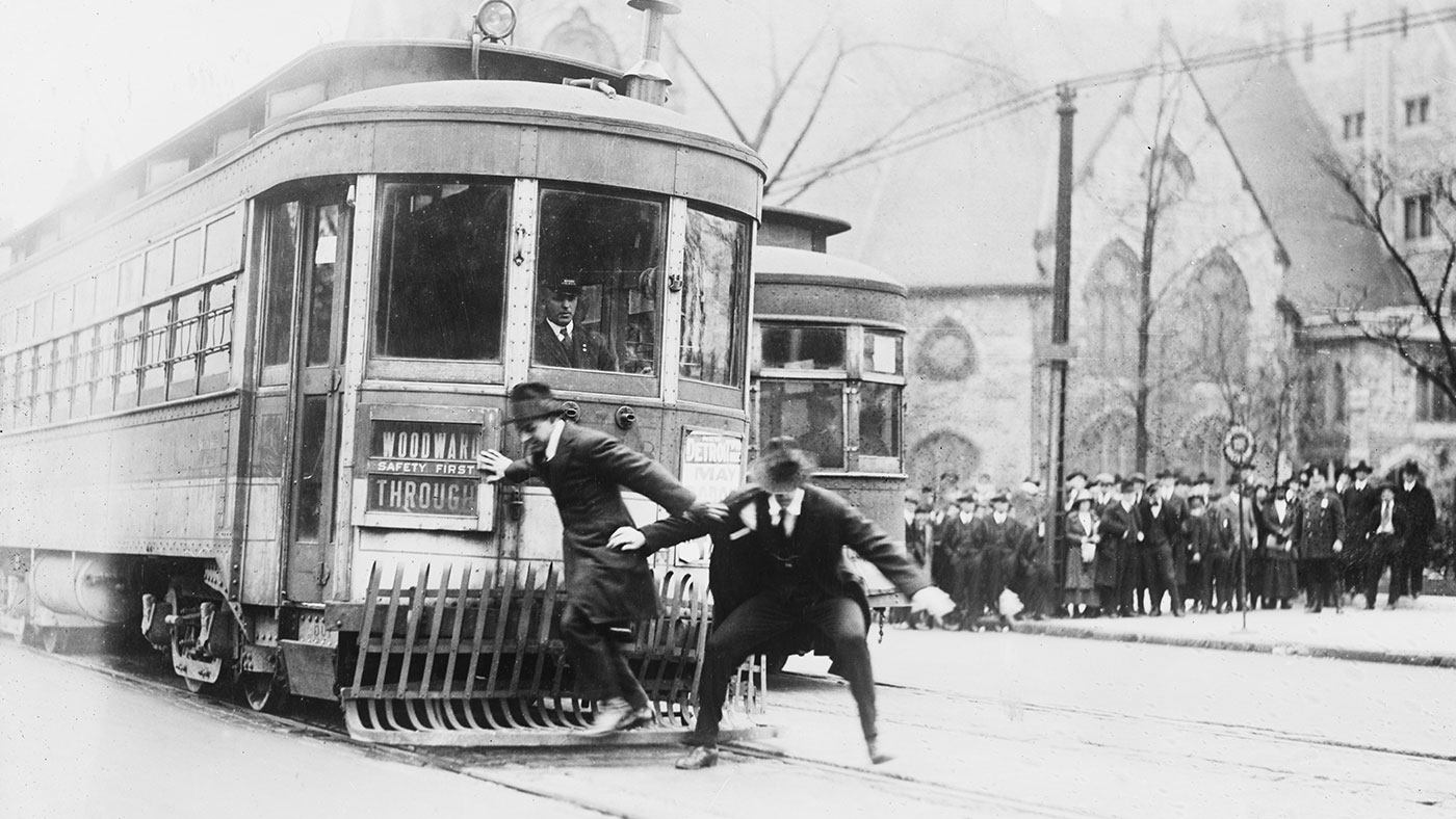 Streetcar safety demonstration in Detroit, Michigan
