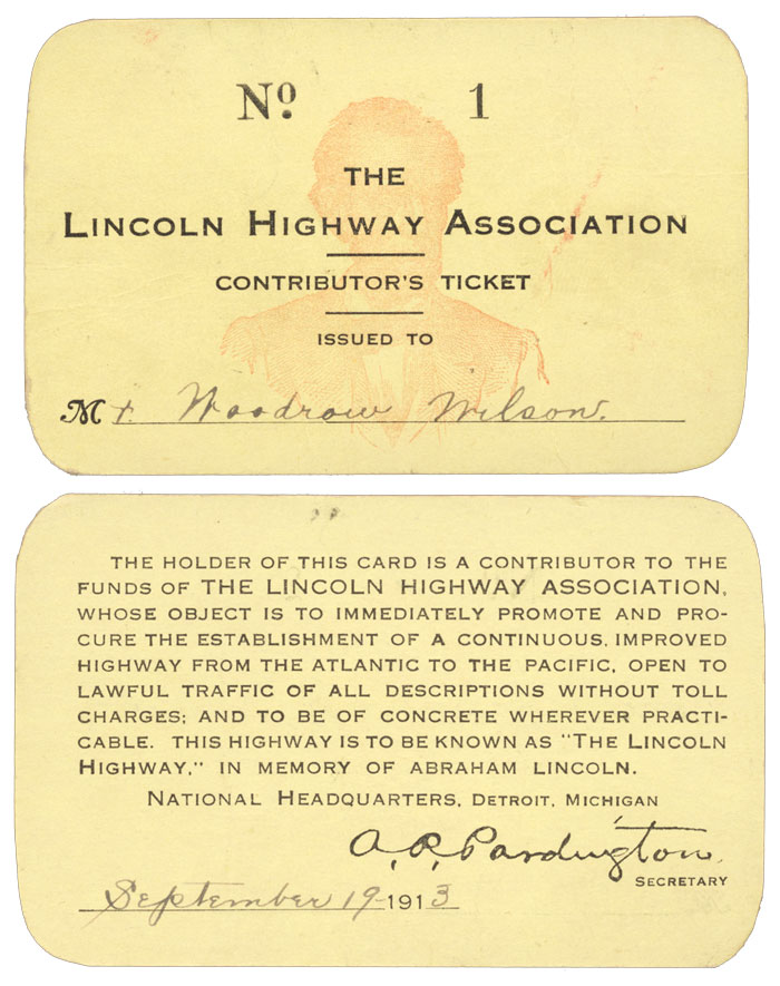 Front and back of President Woodrow Wilson's Lincoln Highway Association membership card