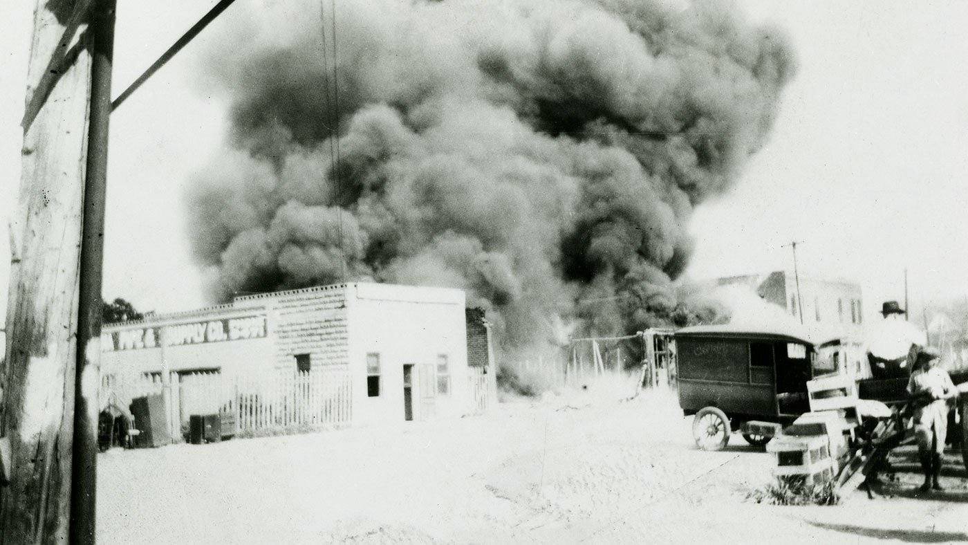 Destruction in Greenwood during the Tulsa Race Riot of 1921