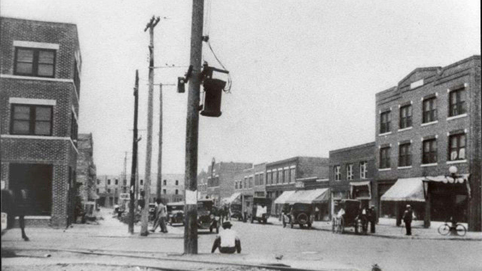 Greenwood Avenue at Archer Street after the Tulsa Race Riot and reconstruction