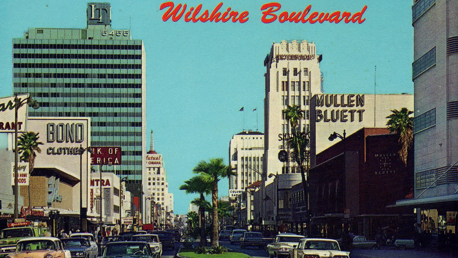 Photochrome postcard of the Miracle Mile district of Los Angeles, California, in the early 1960s