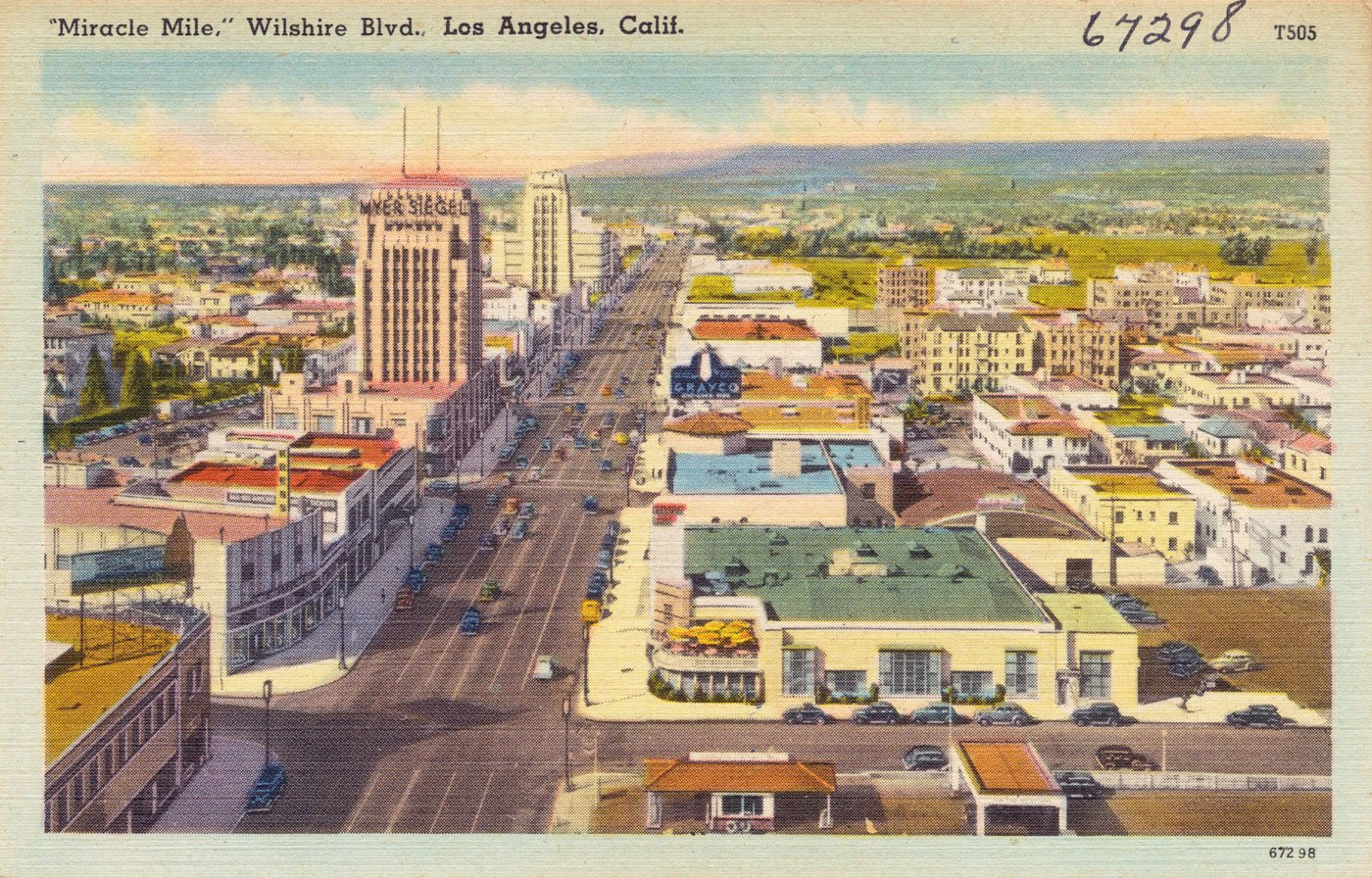 'Miracle Mile,' Wilshire Blvd., Los Angeles, Calif postcard