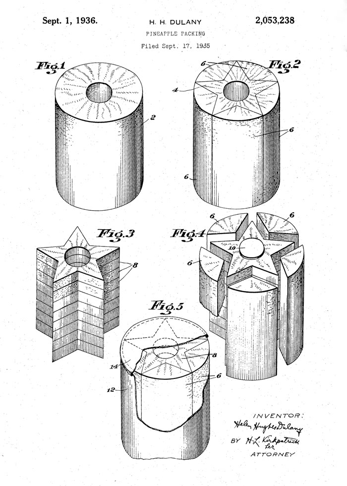 Pineapple packing patent design by Helen Hughes Dulany