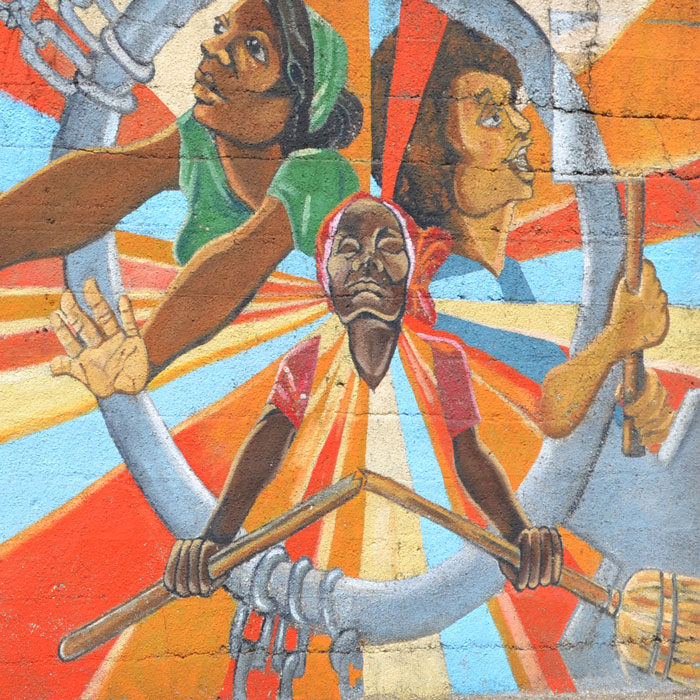 'Black Women Emerging' mural by Justine DeVan