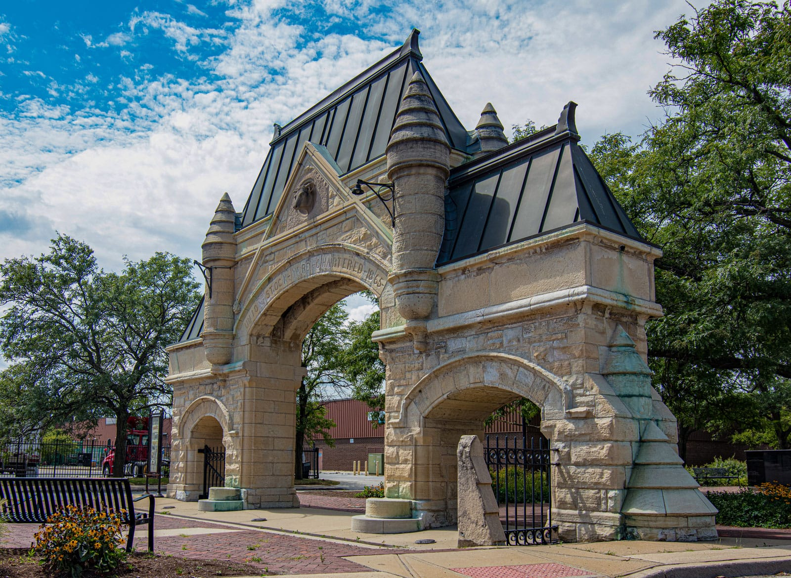 The original Union Stockyards gate from 1875 in Chicago at Exchange Avenue and Peoria Street