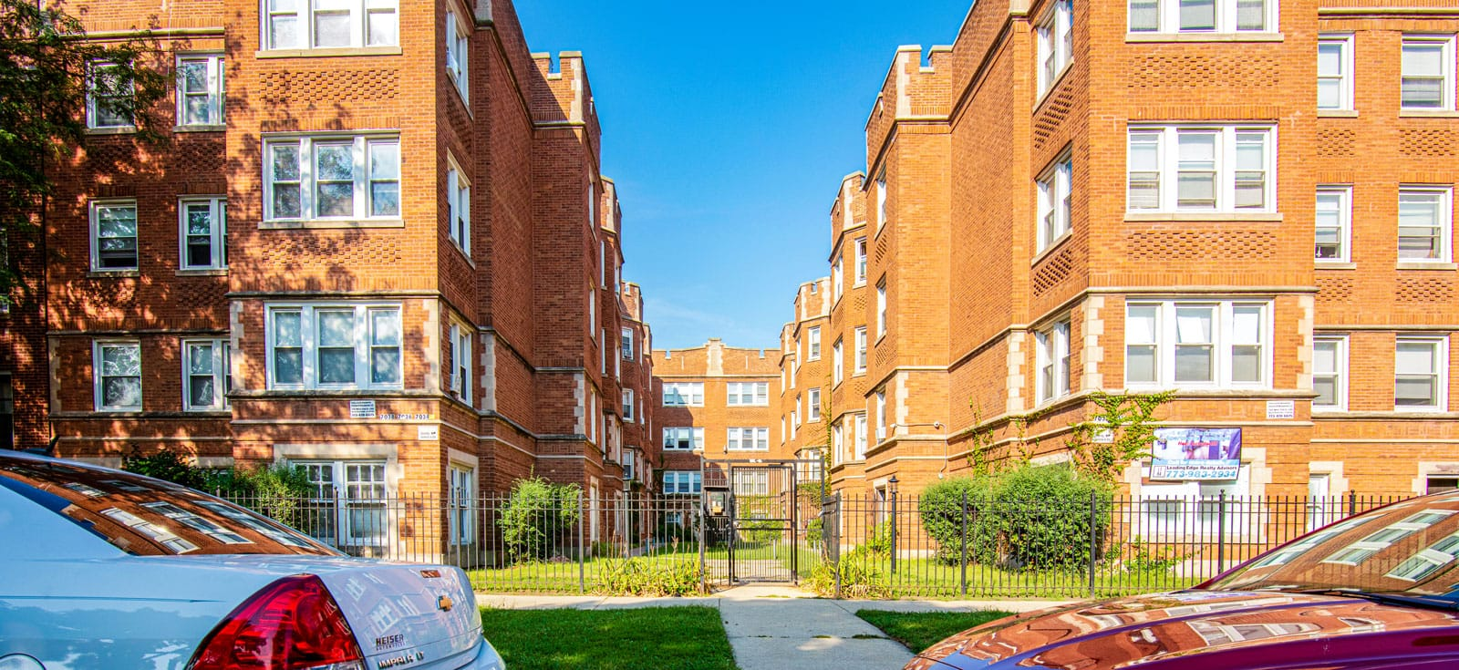 The 1920s courtyard apartment building in Chicago's South Shore that Muhammad Ali lived in with his first wife, Sonji Roi