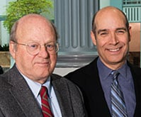 Thomas Beeby (left) with WTTW host Geoffrey Baer. Photo: Bill Richert