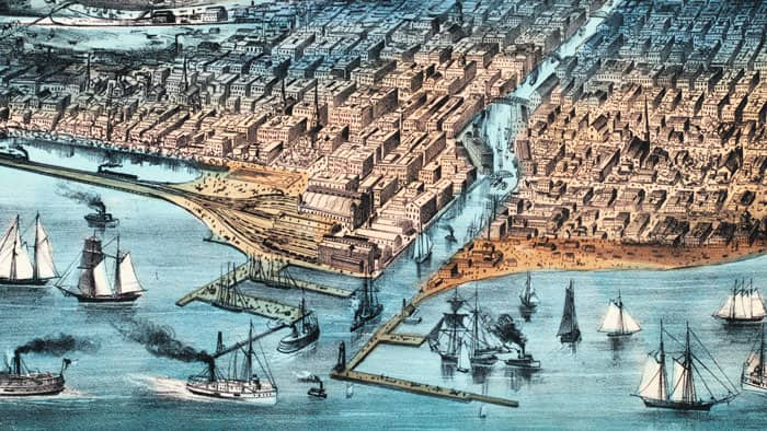 illustration of Chicago before the Great Chicago Fire
