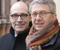 WTTW host Geoffrey Baer (left) with architect Pier Carlo Bontempi in Parma, Italy.