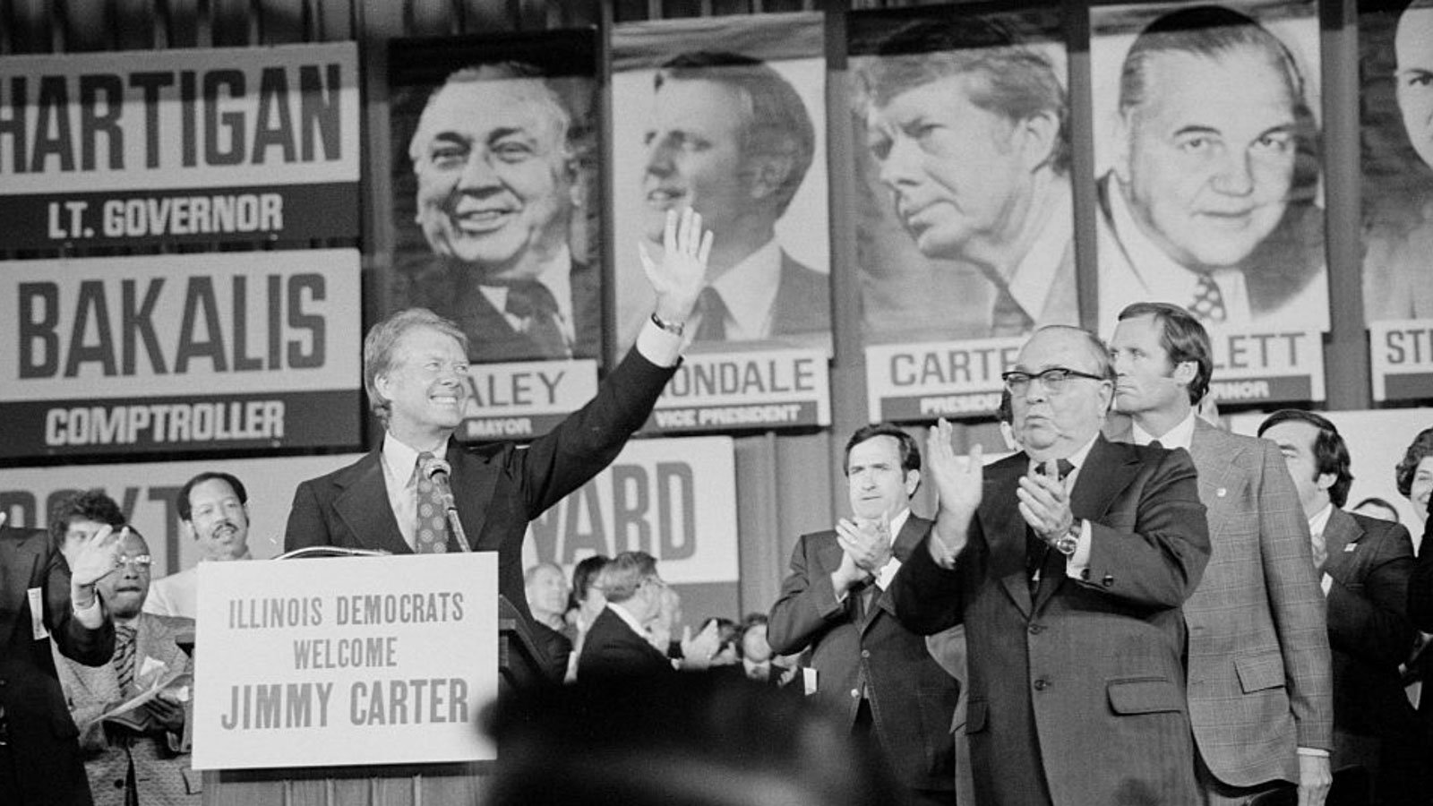 Mayor Richard J. Daley at Illinois State Democratic convention in 1976 with then-candidate Jimmy Carter