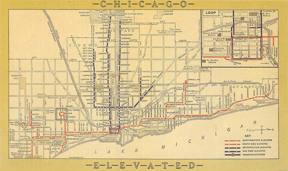 Chicago 'L' map from 1913