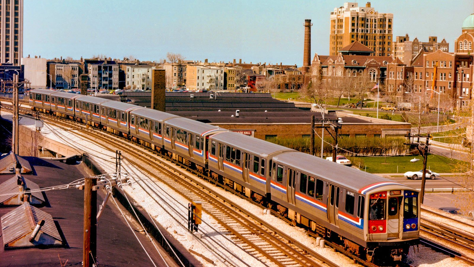 CTA train crosses over Sheridan Road on the North Side in 1978