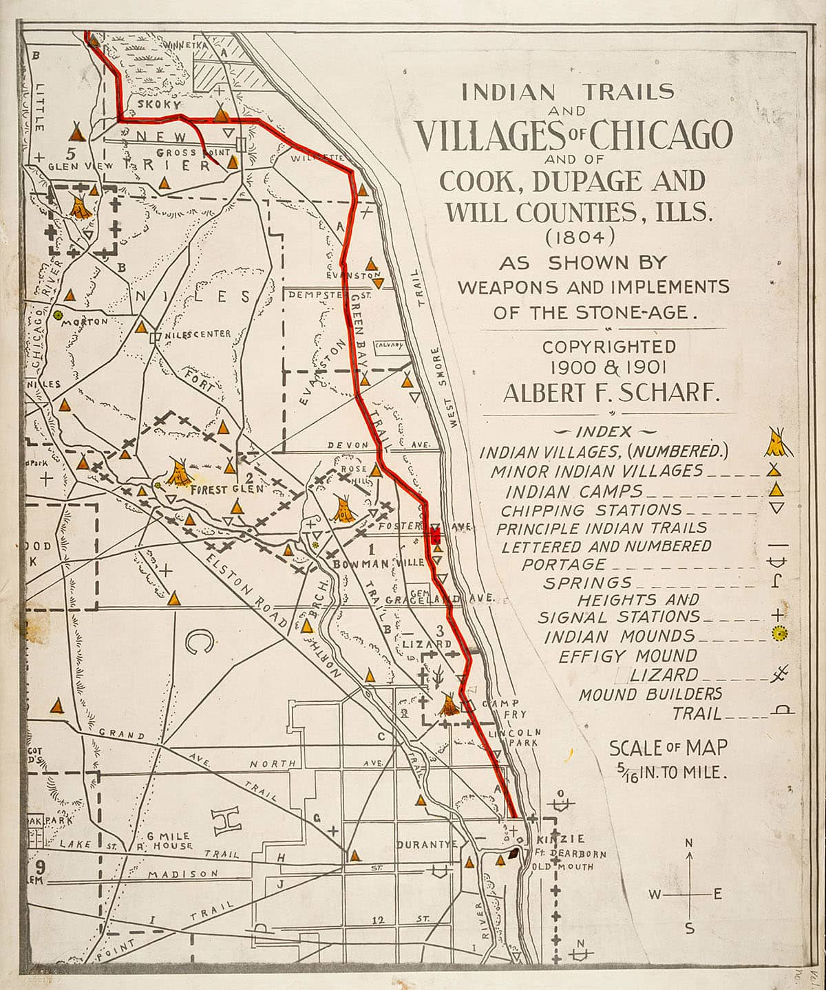 Map of Native American trails in Chicago
