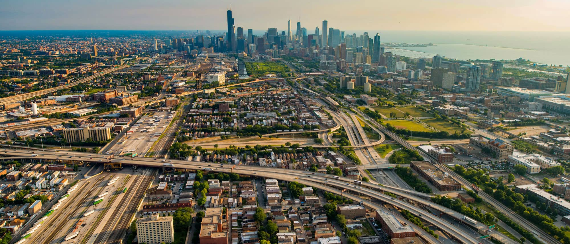 Chicago skyline and expressways