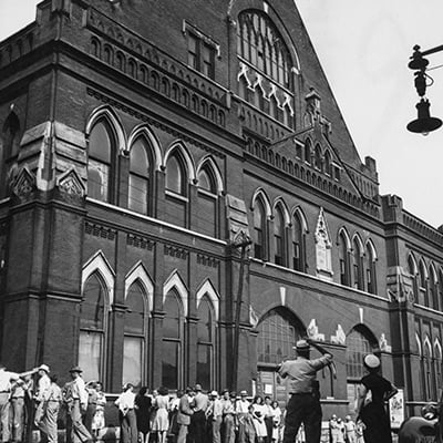 The Ryman Auditorium, home of the Grand Ole Opry, Nashville, c.1945. Photo: The Ryman Auditorium, home of the Grand Ole Opry, Nashville, c.1945.	Courtesy of Ed Clark Collection