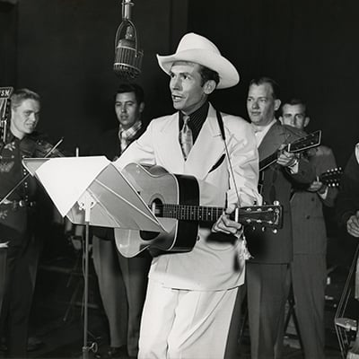 Hank Williams at the WSM radio studio, Nashville, c.1948. Photo: Courtesy of Les Leverett Collection
