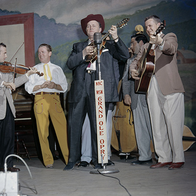 Bill Monroe on the Grand Ole Opry, Nashville, c. 1958. Photo: Courtesy of Les Leverett Collection