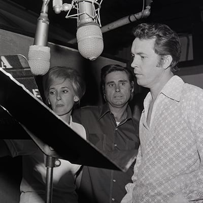 Tammy Wynette and George Jones with producer Billy Sherrill, 1971. Photo: Courtesy of Nashville Public Library, Special Collections