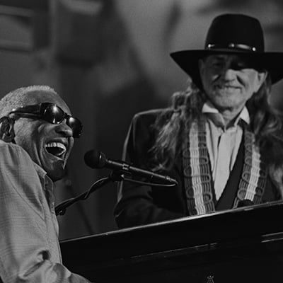 Ray Charles and Willie Nelson, Austin, Texas, 1993. Photo: Courtesy of Scott Newton