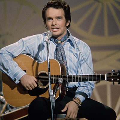 Merle Haggard on the Johnny Cash Show, 1970. Photo: Courtesy of Les Leverett photograph, Grand Ole Opry Archives