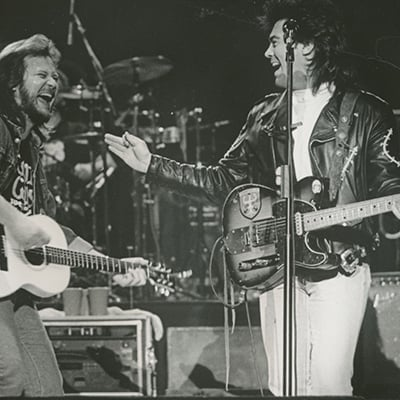 Travis Tritt and Marty Stuart on the Grand Ole Opry, 1991 Photo: Courtesy of Grand Ole Opry Archives, photo by Bill Thorup
