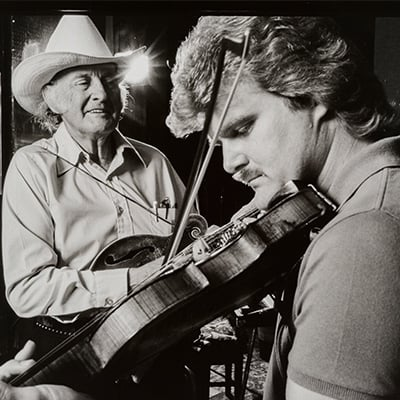 Bill Monroe and Ricky Skaggs, 1984. Photo: Courtesy of Larry Dixon
