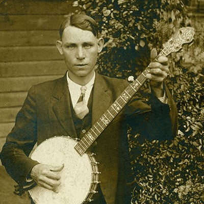 Charlie Poole shows his unique three-fingered banjo style, c.1925. Photo: Courtesy of Kinney Rorrer