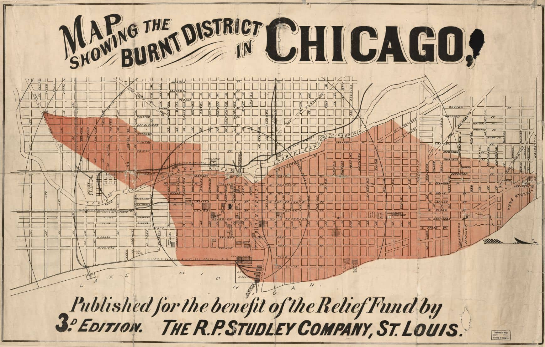 Vintage illustration showing the burnt district from the Chicago Fire of 1871
