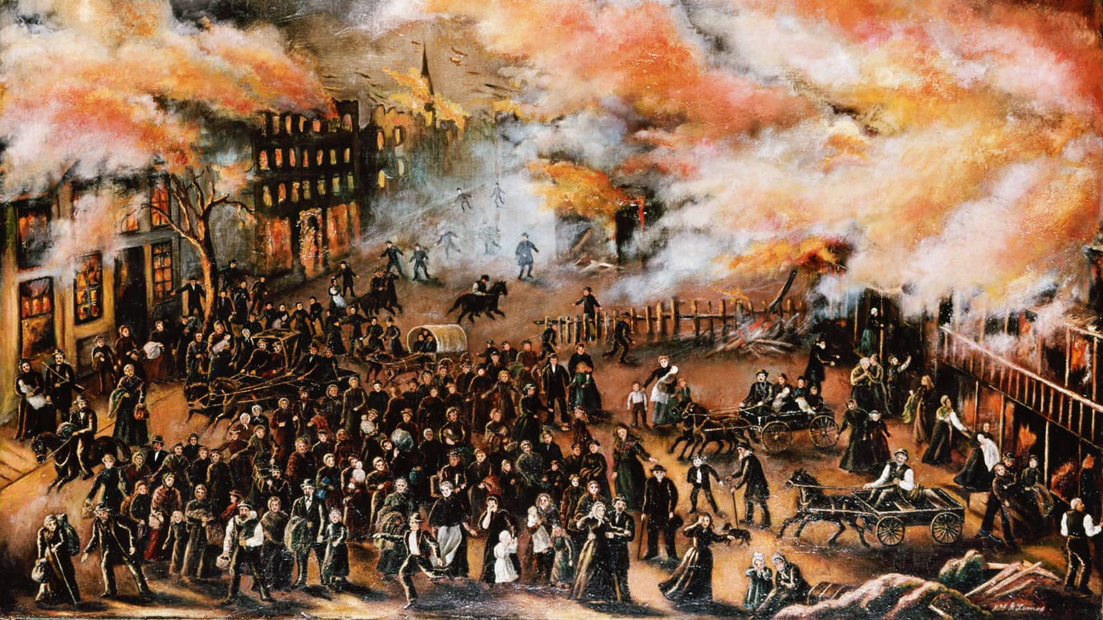 Painting of Chicagoans rushing through streets while buildings are on fire