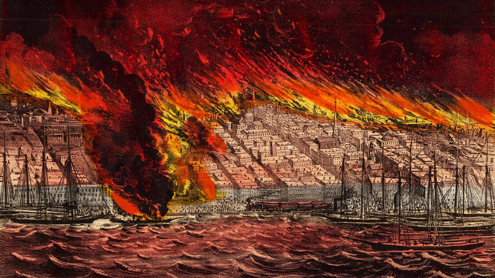 Illustration of the Great Chicago Fire as seen from Lake Michigan