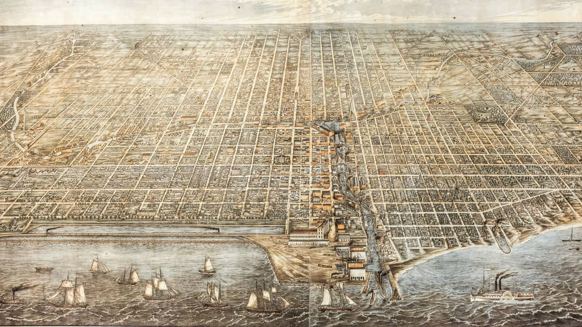 Lithograph illustration of Chicago from 1857