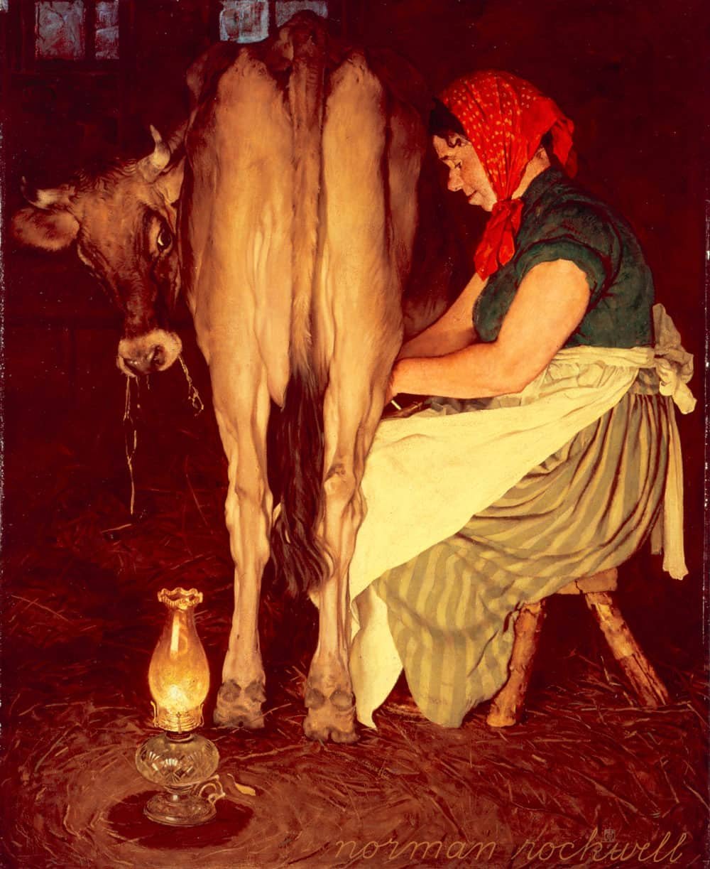 Normal Rockwell painting of Mrs. O'Leary milking her cow in her barn
