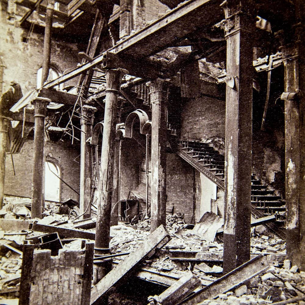 Ruined interior of Chicago post office after the Chicago Fire