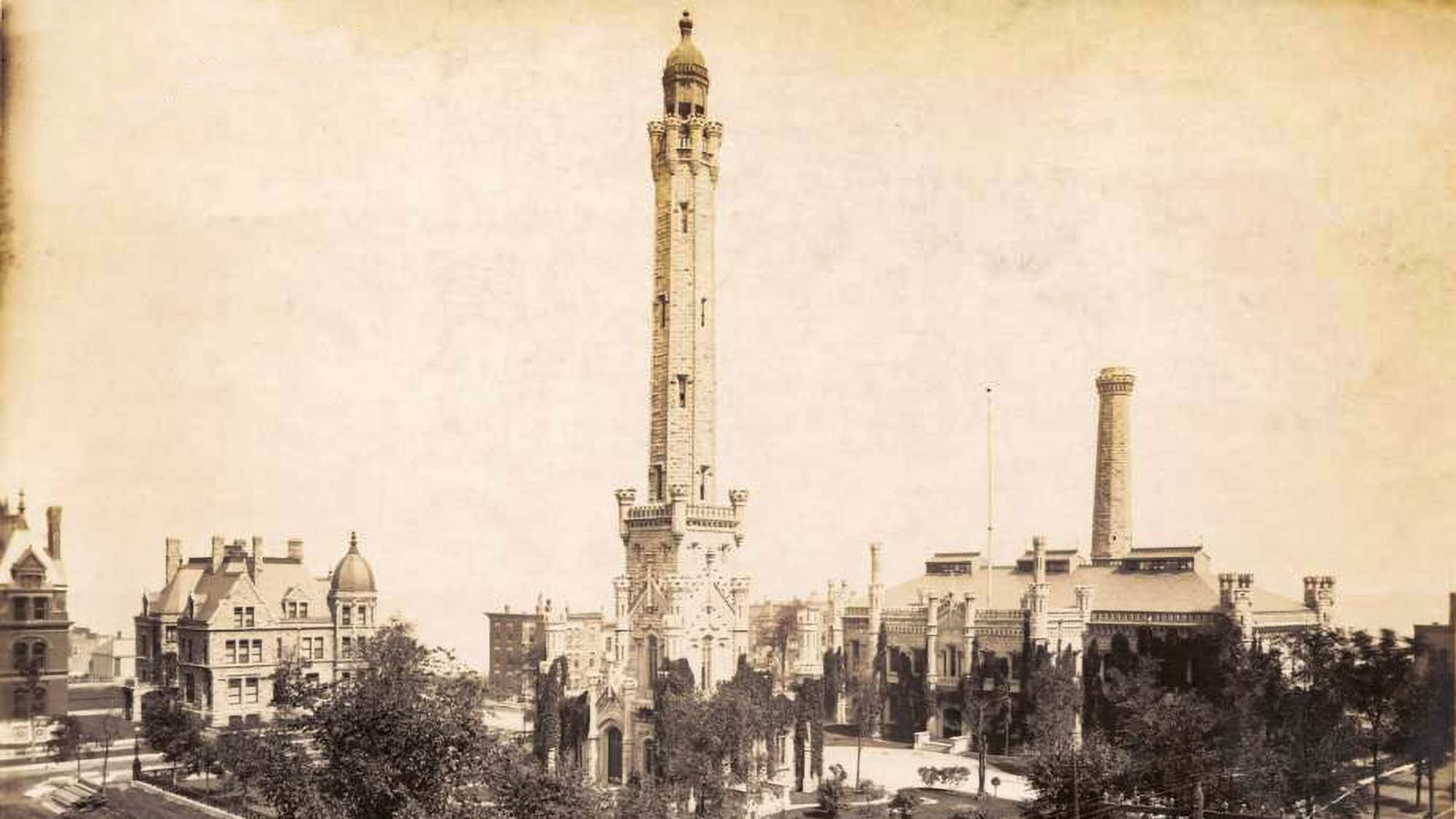 1890 photo of The Water Tower in Chicago