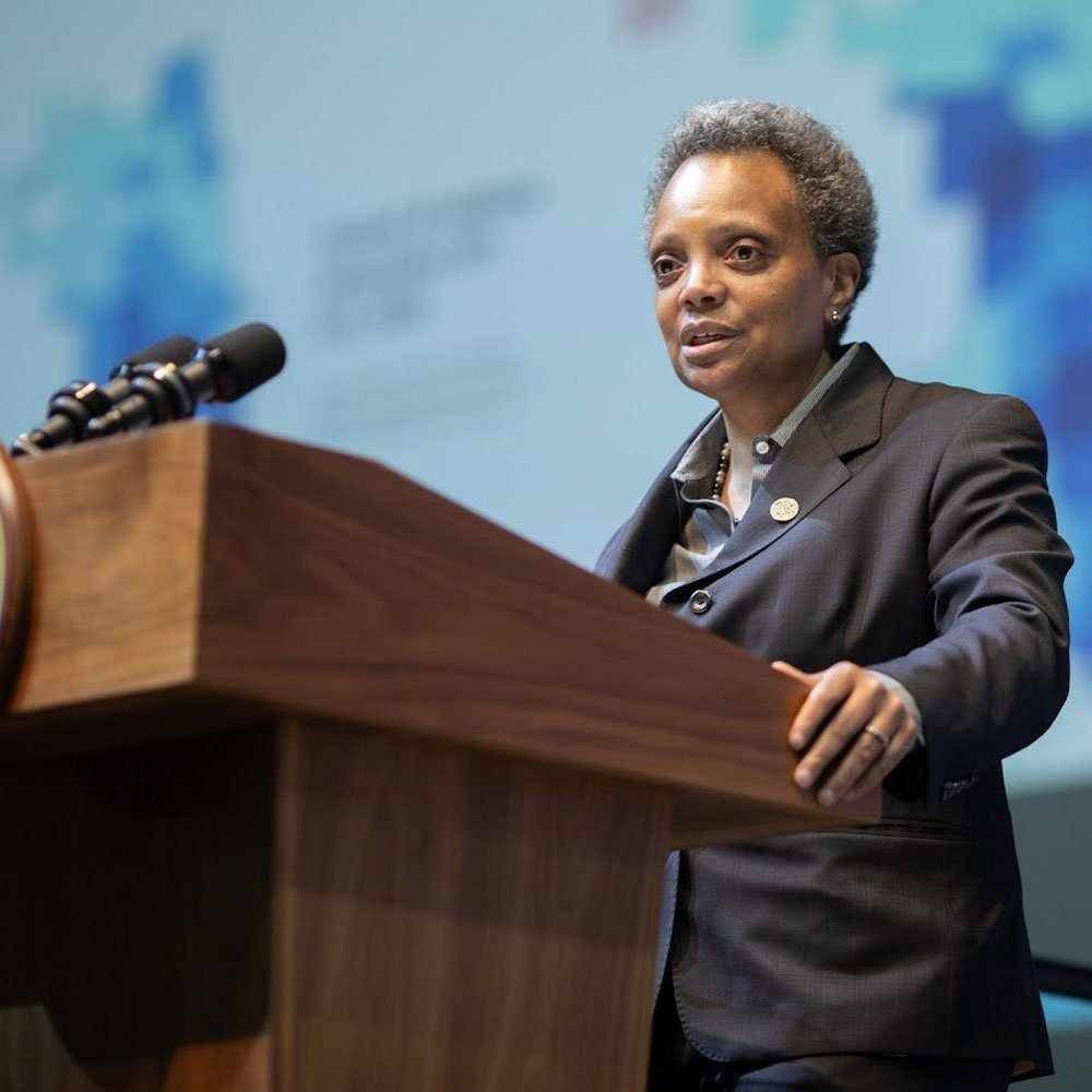 Lori Lightfoot at lectern