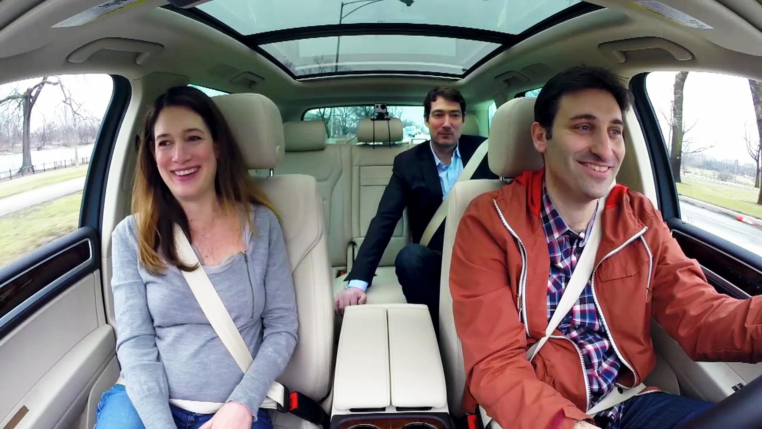 Gillian Flynn in car with Mark Bazer