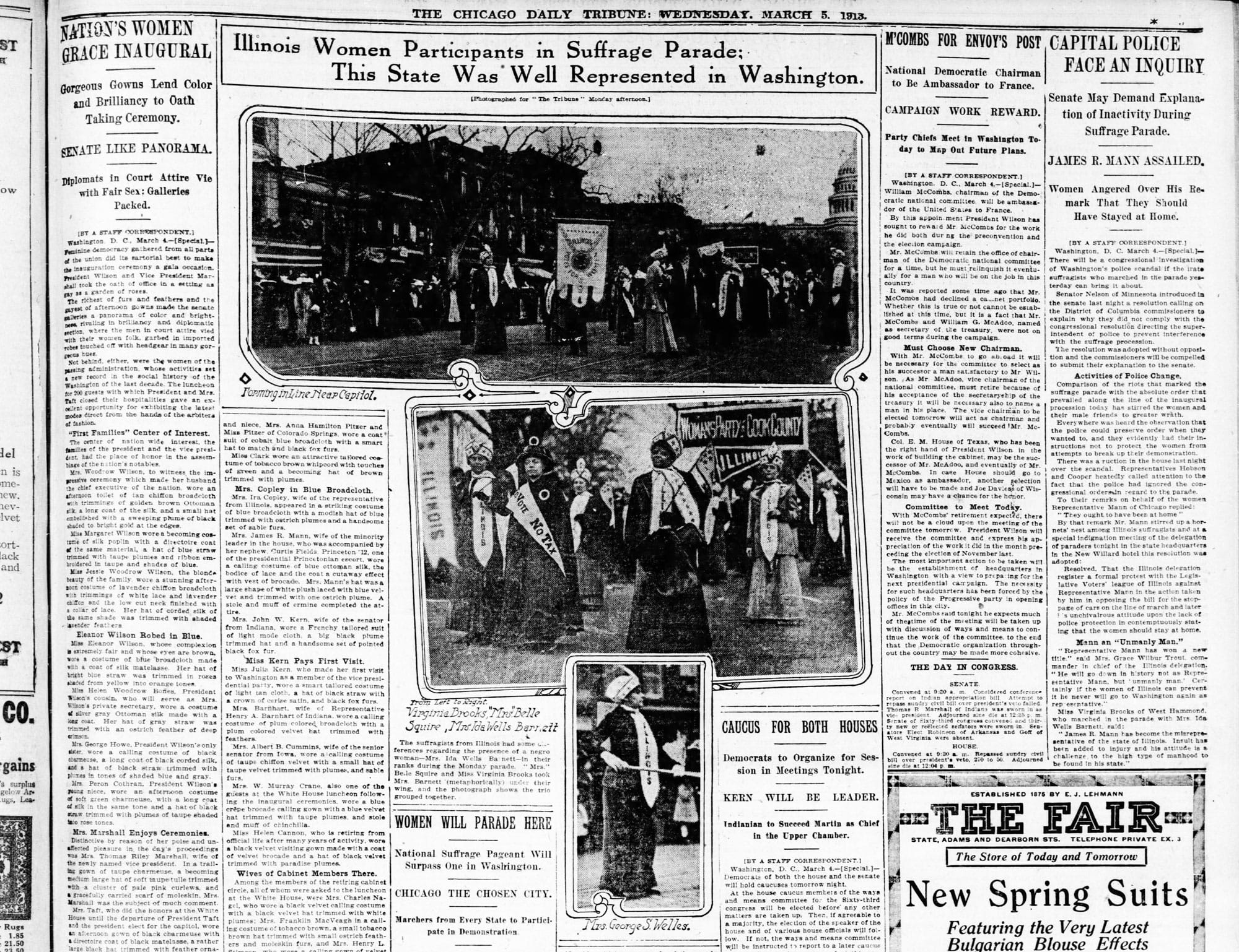 Chicago Daily Tribune newspaper spread from March 5, 1913