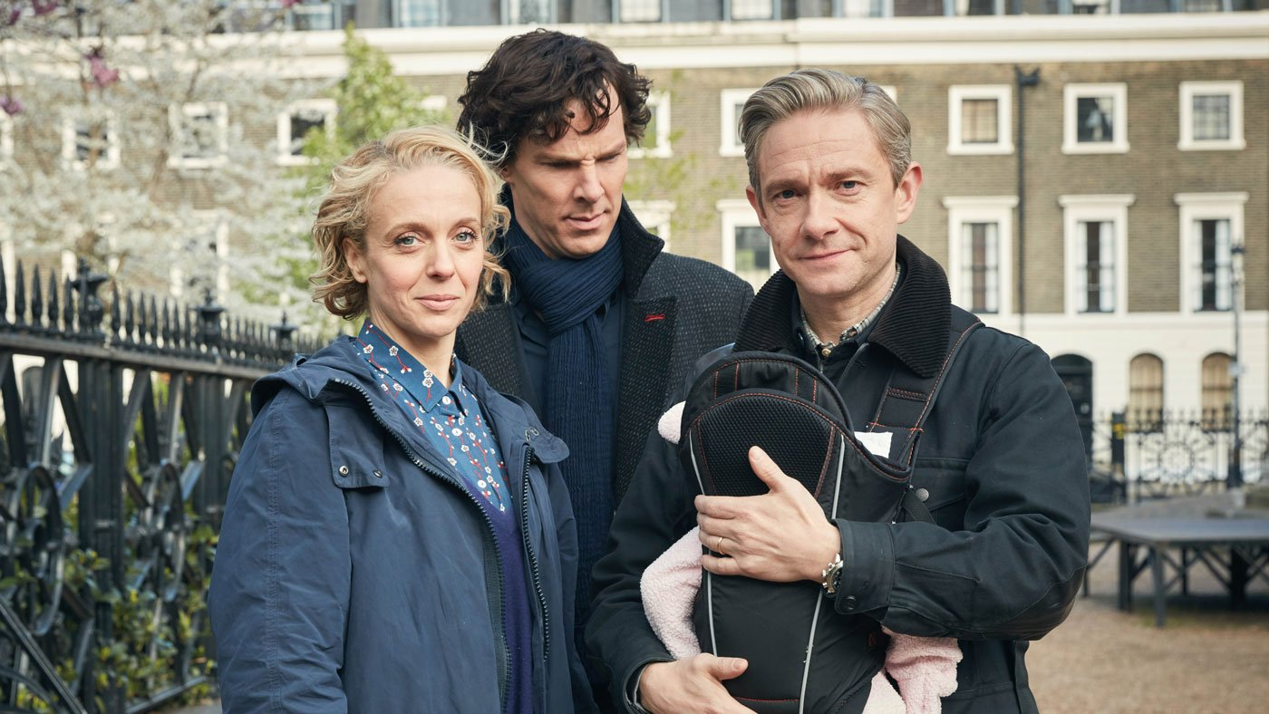 Mary, Sherlock, and John with baby Rosamund in Season 4.