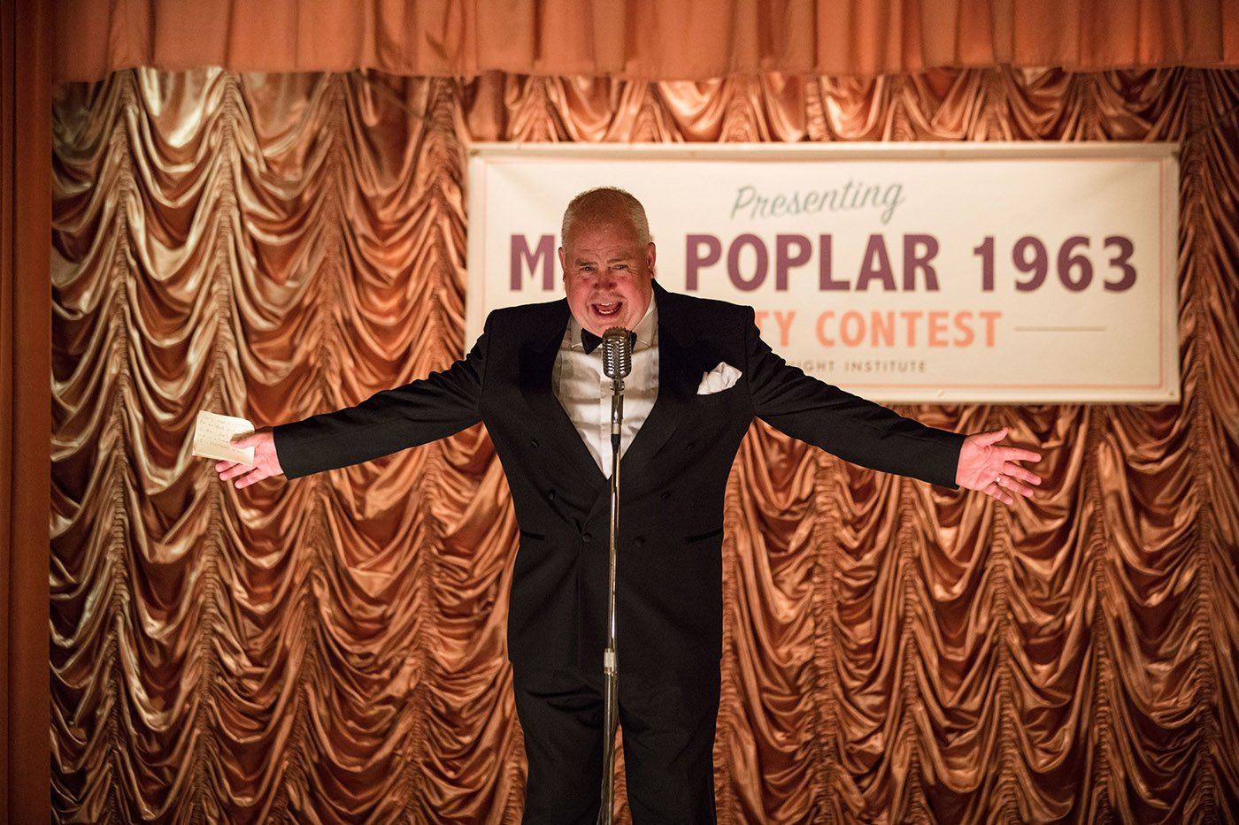 Fred hosting a Miss Poplar beauty pageant in Call the Midwife. Photo: Neal Street Productions 2017