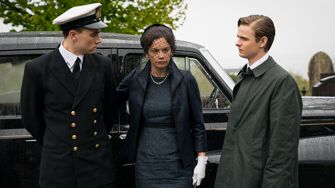 Gordon, Alison, and Nigel Wilson at Alec Wilson's burial. Photo: WP Films Ltd., Steffan Hill