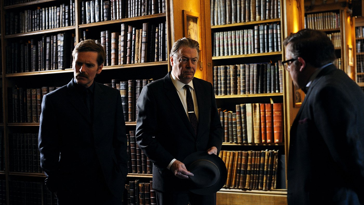 Morse, Thursday, and Dr. DeBryn in Endeavour. Photo: Mammoth for ITV and MASTERPIECE