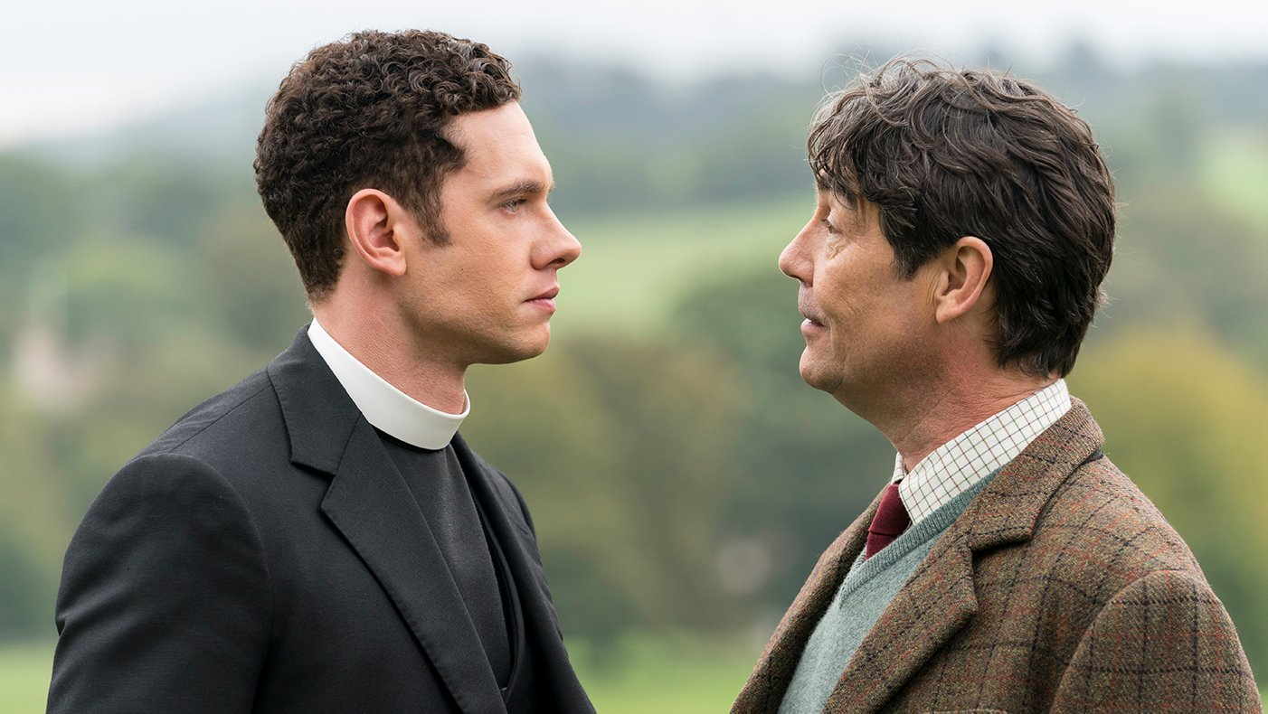Will and Thomas Davenport in Grantchester. Photo: Kudos and MASTERPIECE