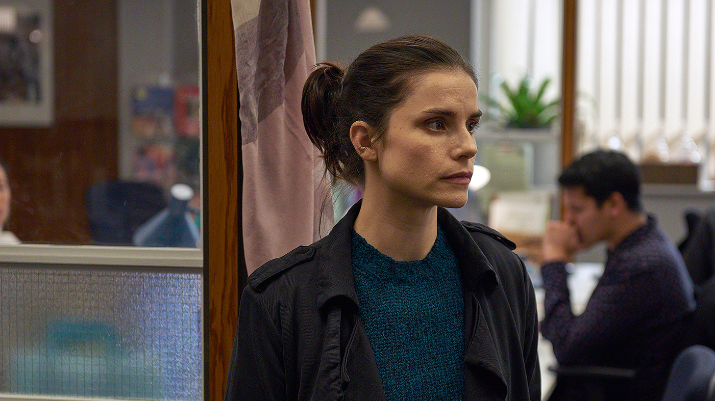 Holly Evans (Charlotte Riley) in Press. Photo: Lookout Point / Hal Shinnie