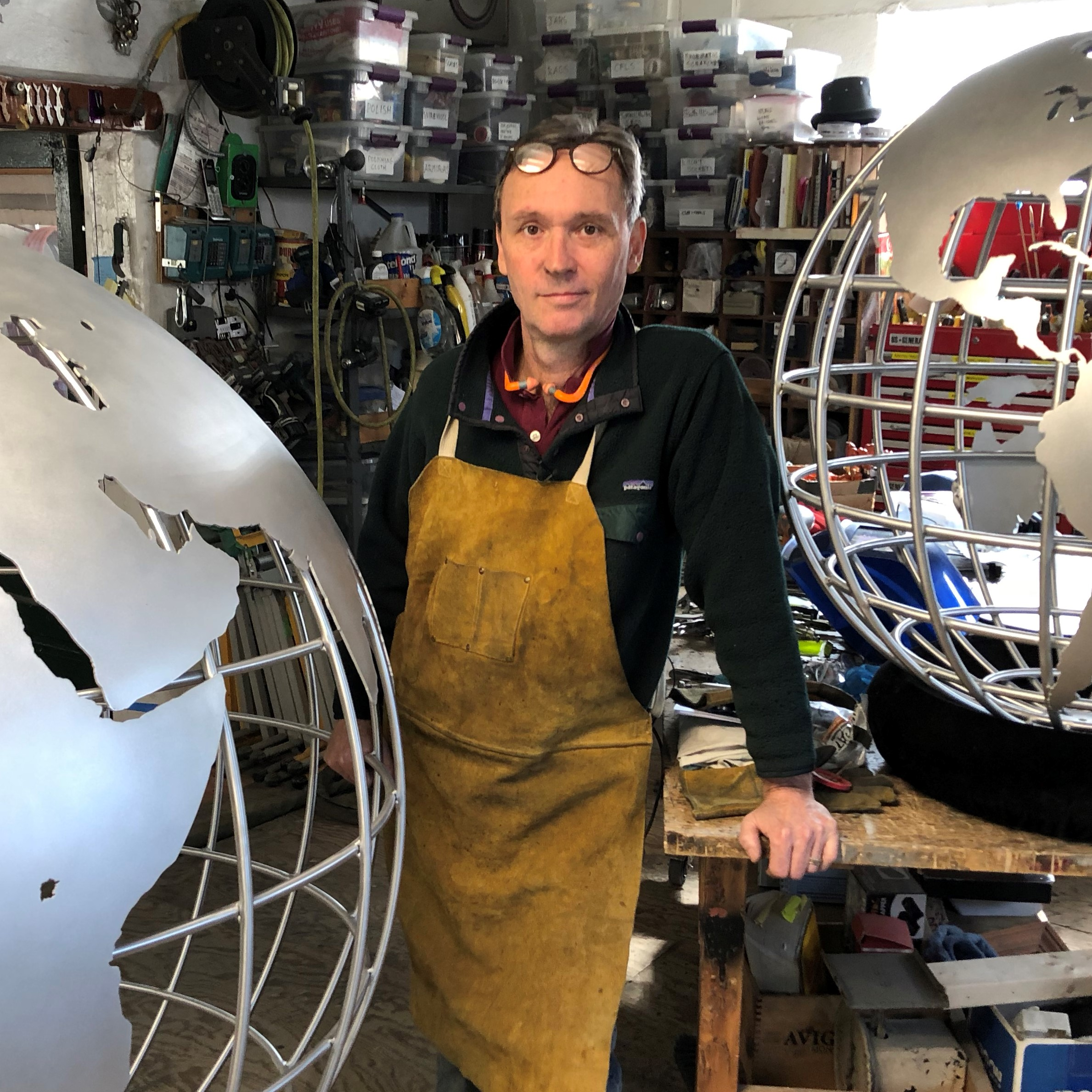 Matt Binns with globe