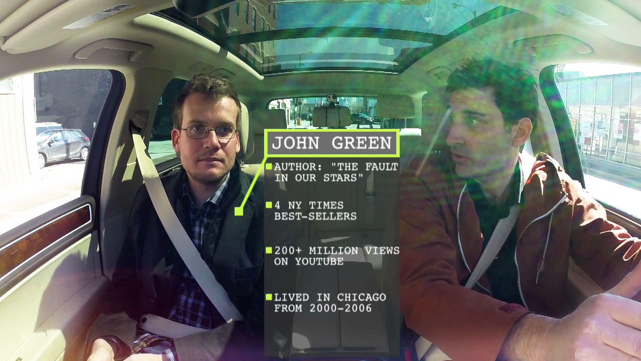 John Green in car with Mark Bazer