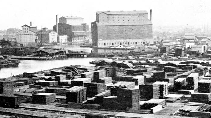 Lumber yard along the Chicago River before the Great Chicago Fire